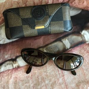 FENDI Vintage Tiny Sunglasses Dark Tortoise Cateye